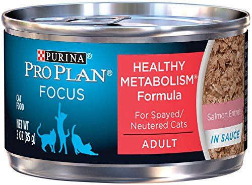 Purina Pro Plan Wet Cat Food, Focus, Healthy Metabolism Formula Salmon Entrée, 3-Ounce Can, Pack of  24