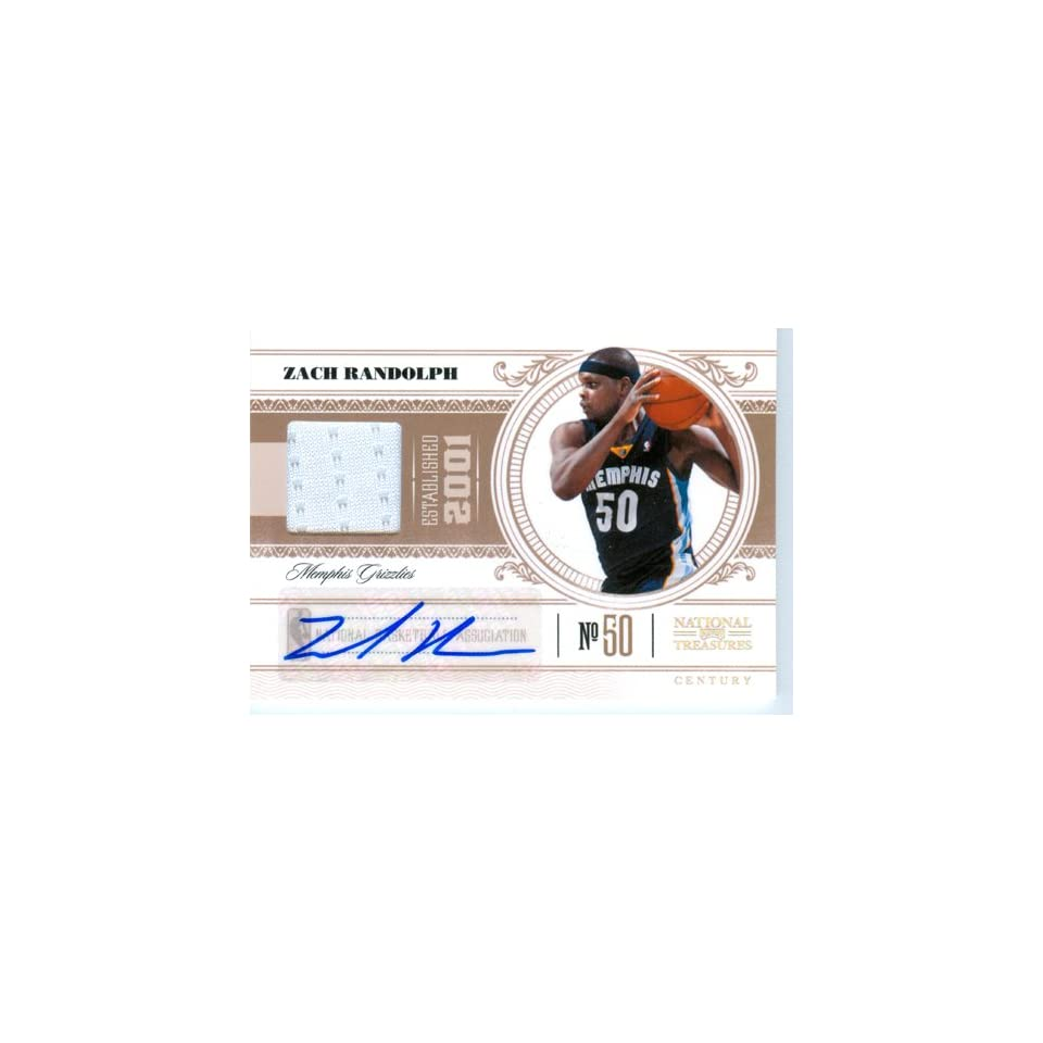 2011 National Treasures Authentic Zach Randolph Autograph Game Worn Jersey Card