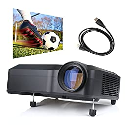 Projector, Crenova XPE650 Video Home Projector Presentation Projector 120 Inches Display Projector Support 1080P HDMI VGA USB SD AV TV input for Home Cinema + 1 Year Warranty- Black