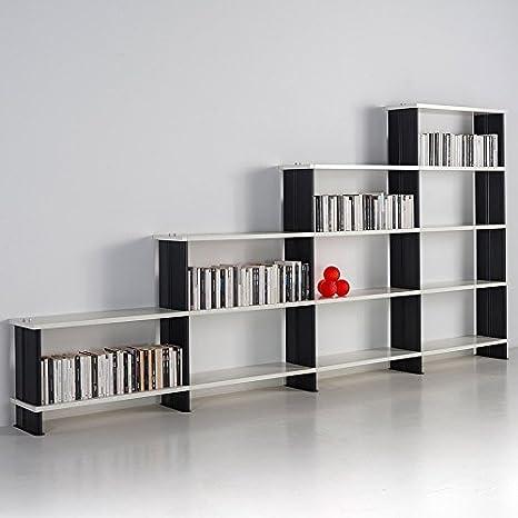 Libreria Modulare NIKKA componibile a scalino mensole fianchi Bianchi scaffali Bianchi da cm. 360 x 176 h x 30