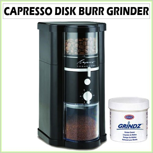 Capresso 580 14 oz. Disk Burr Grinder in Black with Coffee Grinder Cleaner