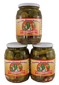 3 Pack Healthy Heart Market No Salt Spicy Hot Dill Pickles from Healthy Heart Market