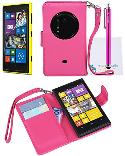 The Friendly Swede Basics Pu Leather Stand Wallet Case For Nokia Lumia 1020 / Nokia Eos (Hot Pink)