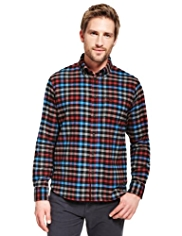 Blue Harbour Brushed Pure Cotton Checked Thermal Shirt