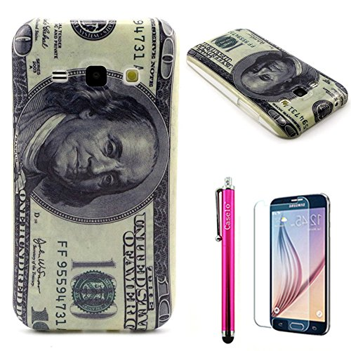 "Galaxy J1 Case, JCmax [Shockproof] [Starchproof] Durable Soft TPU Cover Case [Rubber Silicone] Stylish Skin Colorful Protective Pattern Case Design For Galaxy Galaxy J1 ""-Dollar"