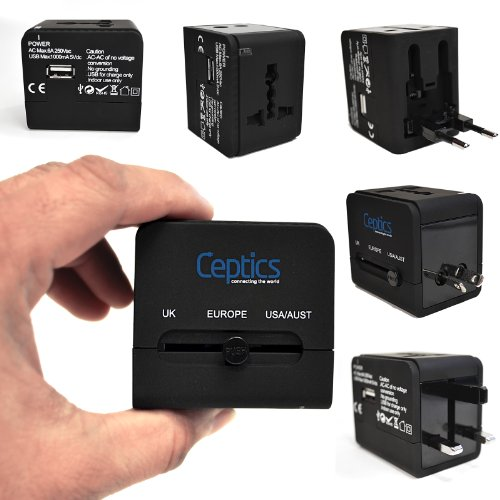 Ceptics UP-9KU International All-in-One Travel Plug Adapter with Dual USB Chargers for iPad/iPhone/Cell Phones