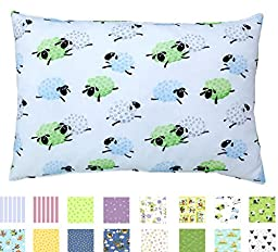 TODDLER PILLOWCASE - 100% Cotton - 200 Thread Count - Soft Percale - Envelope Style - Fits 13x19 Pillows - *PREMIUM PRODUCT Made in Virginia (Counting Sheep)