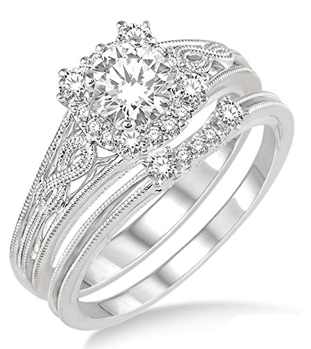 100-carat-vintage-halo-floral-bridal-set-engagement-ring-with-round-diamond-in-10k-white-gold