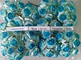TURQUOISE 2T 100 Artificial Mulberry Paper Rose Flower Wedding Scrapbooking Craft 2cm