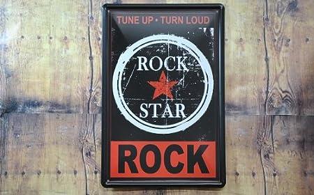 ブリキ看板 ROCK STAR BK1203024 3枚お買い上げで送料無料
