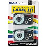 Casio® Tape Cassettes for KL Label Makers, 12mm x 26ft, Black on White, 2 per Pack