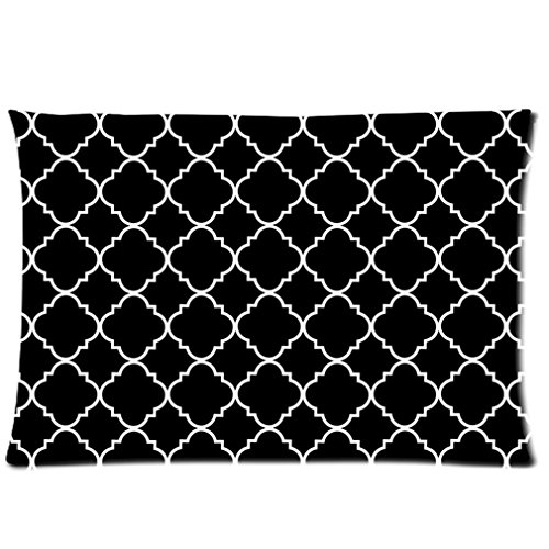 Cool Quatrefoil Simple Black And White Classic Reticular Custom Zippered Pillow Cases 20X30 (Twin Sides) front-1073399