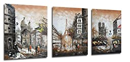 Muzagroo Art Eiffel Tower Oil Paintings Hand Painted Paris Pictures for Wall Decor 3 Pcs/set(Coffee)