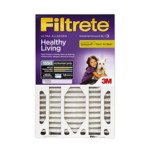 Filtrete Healthy Living Ultra Allergen Deep Pleat Filter, MPR 1550, 20-Inch x 25-Inch x 4-Inch (4-3/8-Inch Depth), 4-Pack (20x20x1 Air Filter Filtrete compare prices)