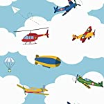 York Wallcoverings WK6733 Waverly Kids In The Clouds Wallpaper, Blue/Red/Yellow/Green/White