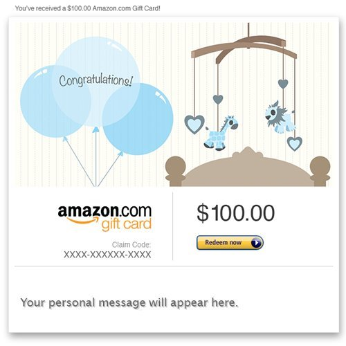 Amazon Gift Card - E-Mail - New Baby Boy (Balloons) front-558872