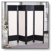 4-Panel Wood Room Divider Beige Canvas