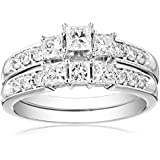 IGI Certified 14k White Gold Princess-Cut Diamond Three-Stone Bridal Ring Set (1 1/2 cttw, H-I Color, I1-I2 Clarity)