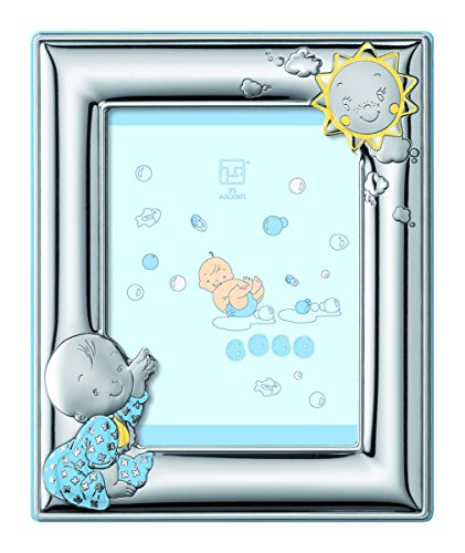 Silver Touch USA Sterling Silver Boy Picture Frame plus Booklet, Blue