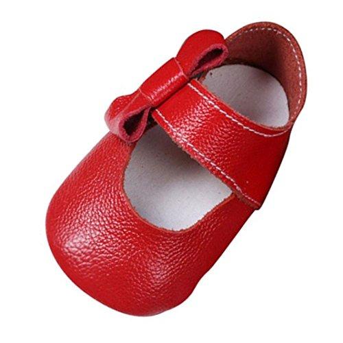Kingko® Neonata pattini del bambino solido morbido mocassino Bowknot Shoes primo camminatore pelle (6~12 mese, rosso)