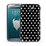 MediaDevil Grafikcase Samsung Galaxy Note 2 / Note II Case: Ultra Slim edition - White Polka Dots on Black (Glossy finish)