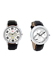 Gledati Men's White Dial And Foster's Women's White Dial Analog Watch Combo_ADCOMB0001764