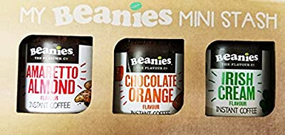 Beanies Flavoured Instant coffee - 3 x Amaretto. Orange and Irish Cream 50g x 3 -