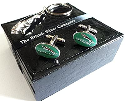 The British Silver Company Jaguar Silver Plated Car Leaping Cat Keyring And Jaguar Cufflinks By The British Company