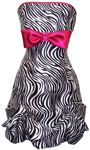 Zebra Strapless Satin Bubble Prom Dress Holiday Coctail Party Gown w/ Color Bow, Size: 3X, Color: black/white/fuchsia