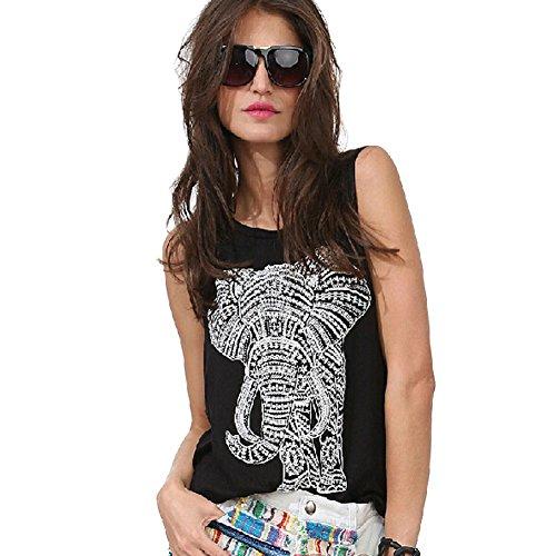 Elephant Pattern Printing Women's Loose Round Neck Black Tank Tops
