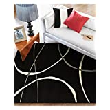 benuta Modern Rug Swing Black 160x230 cm - 100% Polypropylene - Abstract - Machine woven - Living room