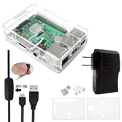 Smraza 4 in 1 Starter Kit for Raspberry Pi 3 2 with Clear Case,Power Supply,2pcs Heatsinks and Micro USB with On/Off Switch (Arduino Raspberry Pie compare prices)