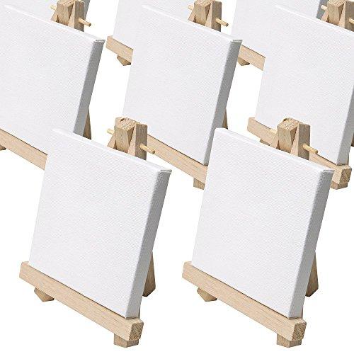 Set da 10 cavalletti da pittura in miniatura - mini-cavalletti ca. 9 x 11cm completi di una mini-tela 8 x 8 cm