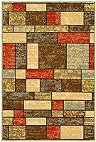 Ottohome Collection Multi Colour Contemporary Boxes Design Area Rug With Non-Skid (Non-Slip) Rubber Backing (100X150cm) by Ottomanson