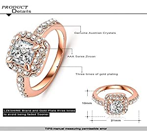 AnaZoz Jewelry Square Shape Zircon Wedding Rings For Women 18K Rose Gold Plated Genuine SWA Elements Austrian Crystal Ring 21*10mm US Size 7.5 from AnaZoz