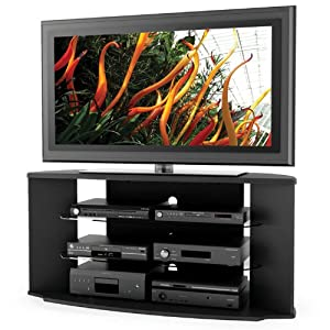 sonax rx 5500 rio 55 inch midnight black tv stand with two glass shelves. Black Bedroom Furniture Sets. Home Design Ideas