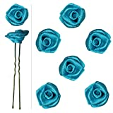 Lot de 6 épingles pics à cheveux chignon roses fleurs en satin bleu azur _ mariage mariée danse demoiselle d'honneur...