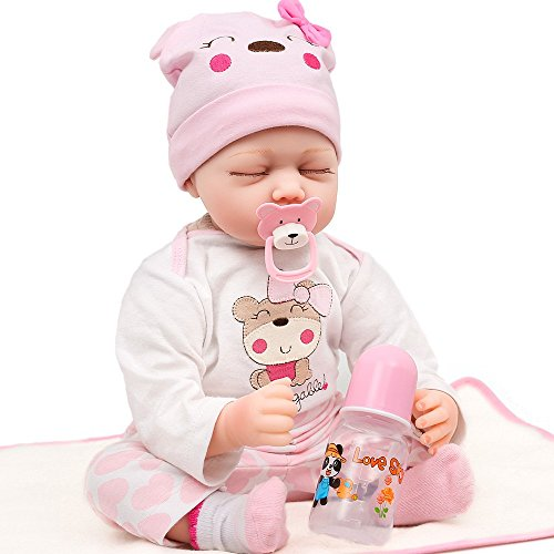 Realistic Reborn Baby Doll OMISS Vinyl Silicone with Sleepingwear Hat Pacifier and Socks 18