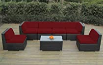Hot Sale Ohana Collection pn0703asr Sunbrella Outdoor Patio Wicker Furniture 7-Piece Couch Set with Free Patio Cover, Red