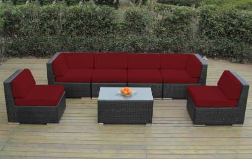 Ohana Collection pn0703asr Sunbrella Outdoor Patio Wicker Furniture 7-Piece Couch Set with Free Patio Cover, Red picture