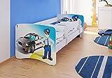 Best For Kids cama infantil con protección anti Caídas y con 10cm Colchón TÜV certificado Super Selección 5Tamaños Diversos diseños Polizei Talla:90x180