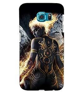ColourCraft Fire Girl Design Back Case Cover for SAMSUNG GALAXY S6 EDGE G925