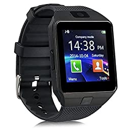 Aipker Smartwatch Phone with Bluetooth Camera SIM TF Card Slot Compatible All Android Smart Phones Black