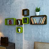 DecorNation Wall Shelf Set of Six Cube Rectangle Designer Wall Rack Shelves - Green & Brown