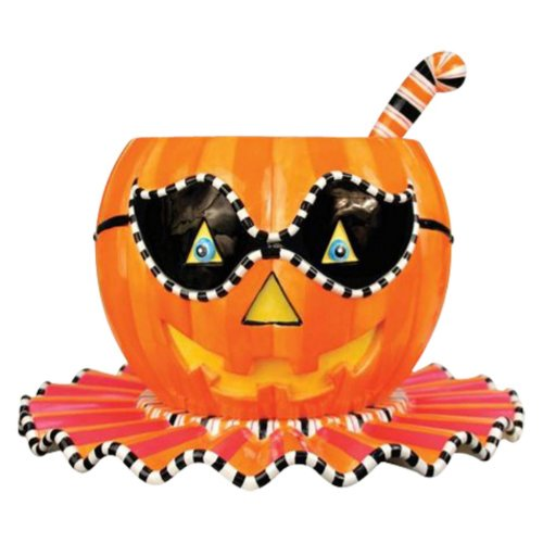 Glitterville Halloween Pumpkin Punch Bowl 3-Piece Set