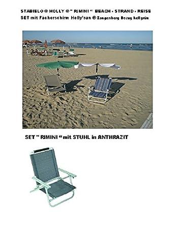 """'Viaje-Playa-Stabielo® Holly®-Juego de viaje """"Rimini-Contenido-BelSol-Aluminio Tumbona-Antracita-2.8kg Fácil + Correa + Holly' Sun&re"""
