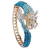 EVER FAITH Women's Austrian Crystal Cool Animal Fly Dragon Bangle Bracelet Blue Gold-Tone
