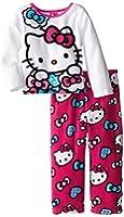 Hello Kitty Little Girls'Hearts and Bows Cozy Fleece Pajama Set