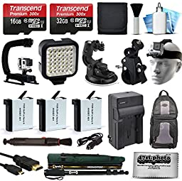 48GB MicroSD Memory Card + (3) AHDBT-401 Battery + Travel Charger + Head Strap + Car Mount + Night Light + xGrip Stabilizer + Selfie Stick + HDMI for GoPro HERO4 Hero 4 Black Silver Camera Camcorder