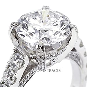 8.03 Carat Round Natural Diamond AGI Certified E-VS1 Very Good Cut 18k White Gold 4-Prong Setting Engagement Ring with Milgrain